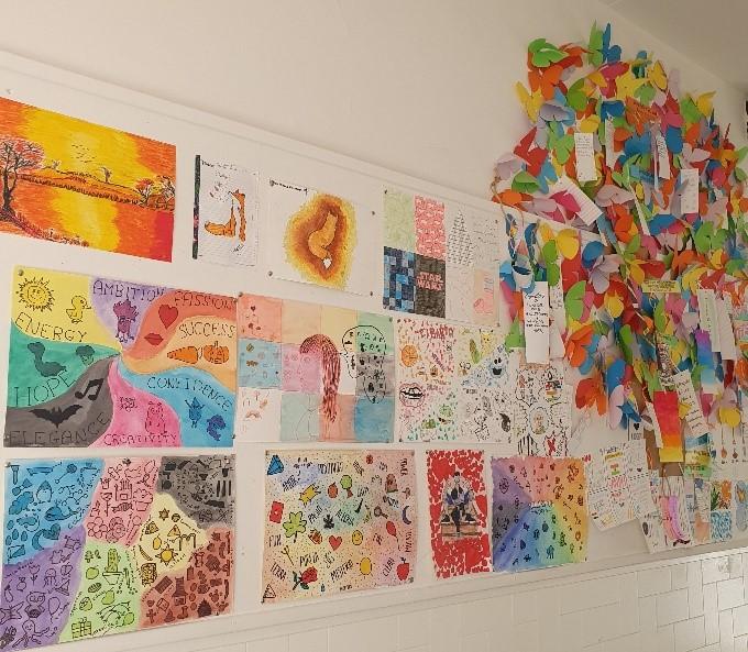 colorful corridor school