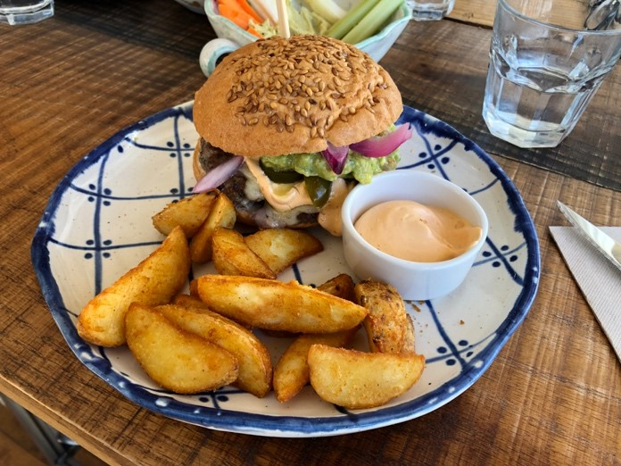 gluten free hamburger with french fries