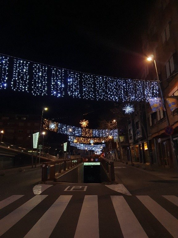 Spanish street with Christmas lights