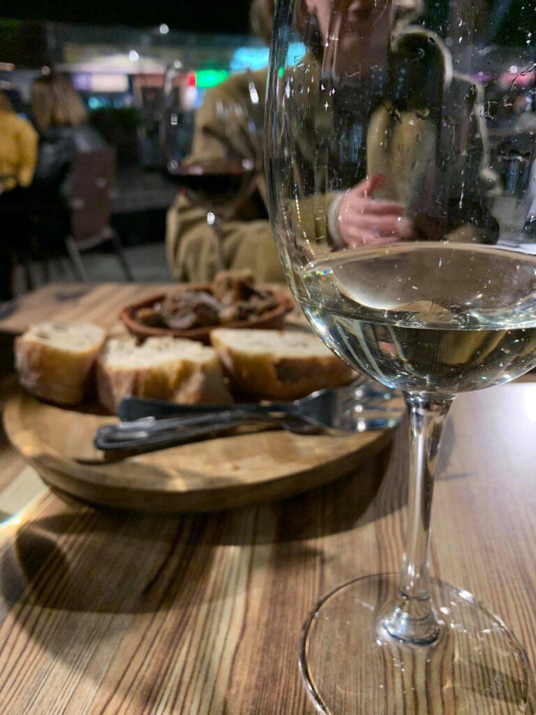 white wine and spanish tapa