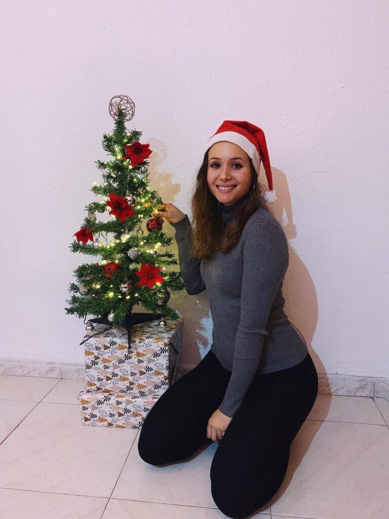 christmas tree and girl