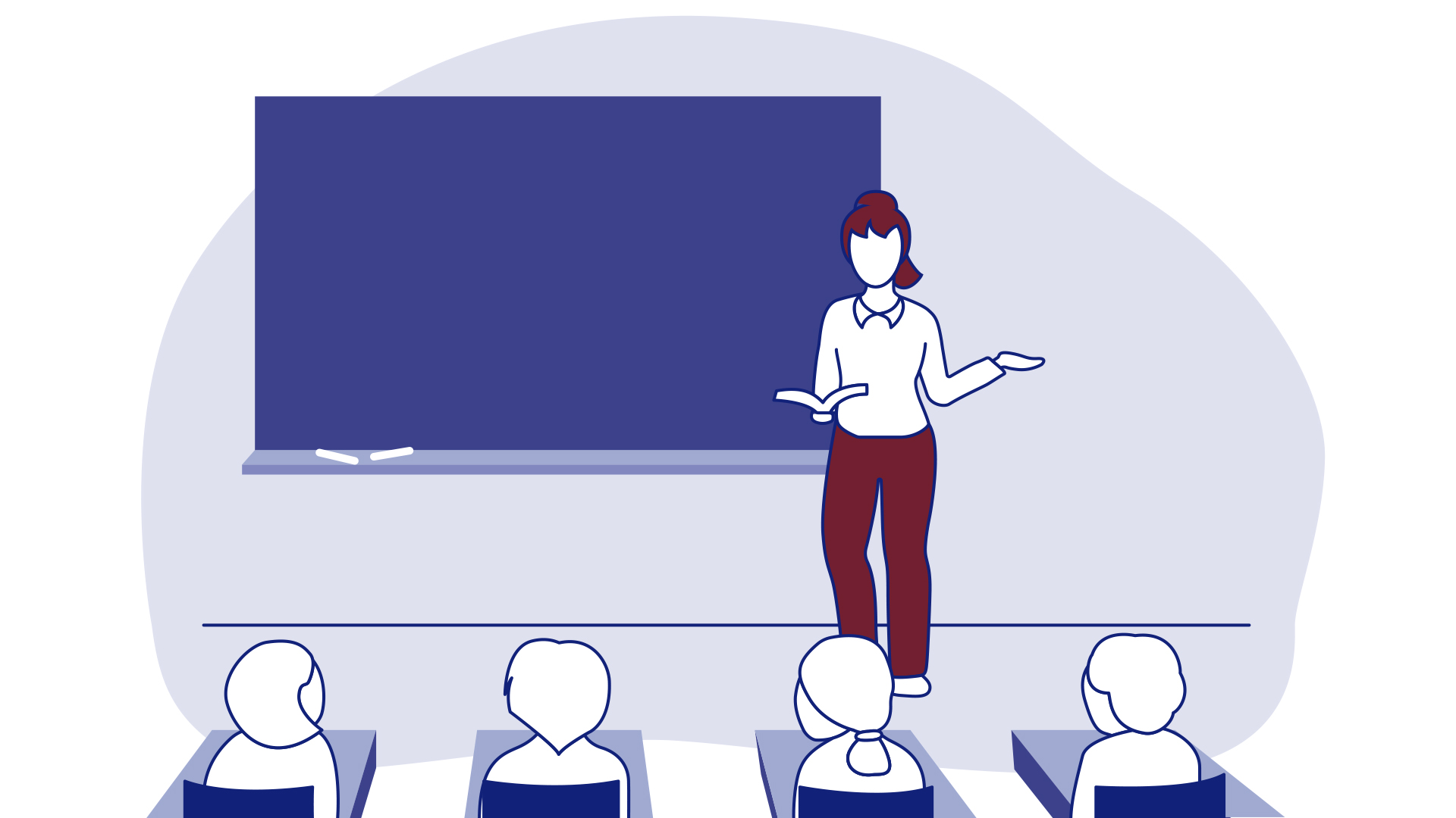 Drawing of a teacher explaining a lesson to the students